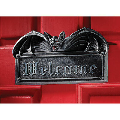 Gothic Goulish Halloween Welcome Ebony Vampire Bat  Wall Door Plaque Sculpture