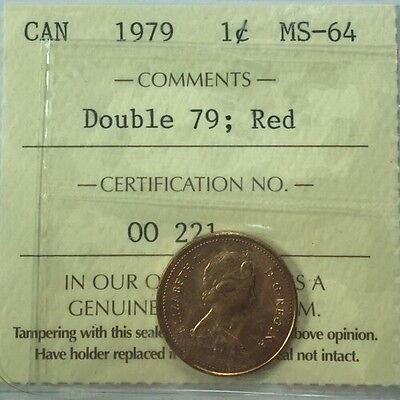 1979 Canadian One Small Cent ICCS Graded MS-64 Double 79