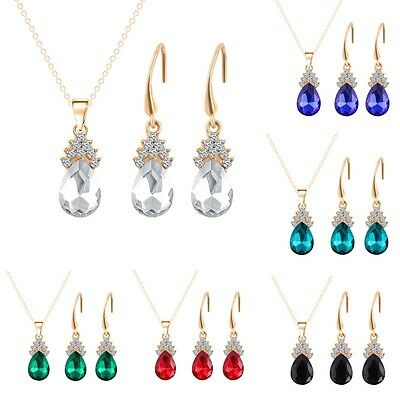 New Women Fashion Jewelry Zircon Crystal TearDrop Necklace Earring Jewelry Sets