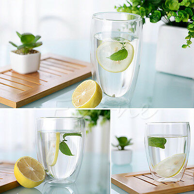 250/350ml Double Wall Glass Coffee Cup Heat-resistant Double Layer Glass