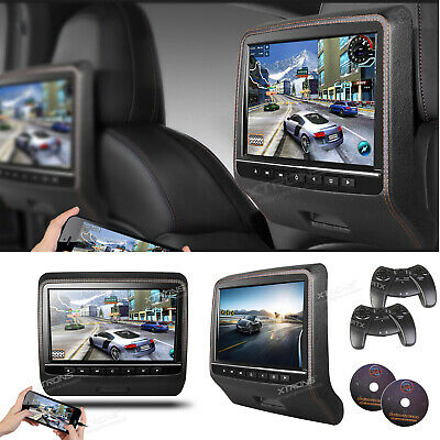 "2X Black Dual-Screen Headrest 9"" Car Journey Active Monitor DVD Player HDMI Game"