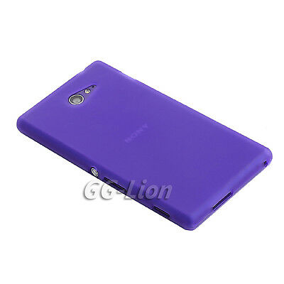 for Sony Xperia M2 D2306 D2302 S50h Purple Silicone TPU Matte Gel Cover Case