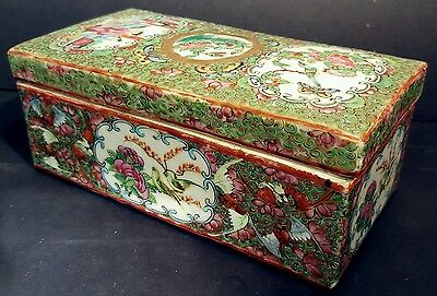 Antique Chinese Export Rose Medallion Brush Box Bird Butterfly Enamel c1840-1880
