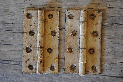 "ntique vtg Iron Hinges Pair Farm Barn Decor gate butt door Rusty 3.96""*2.36"" ISI"