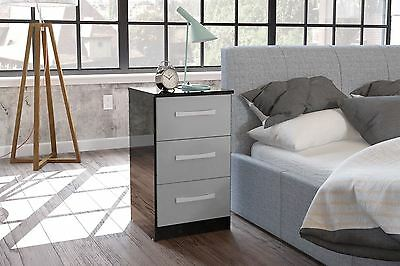 Birlea Lynx Black Gloss & Grey Gloss 3 Drawer Bedside Table Cabinet Night Stand