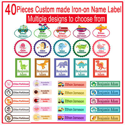 40 Custom made Iron on Name Label for school uniform childcare baby clothing