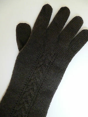 Cashmere long cable gloves olive brown ladies womens NEW wool made in Scotland