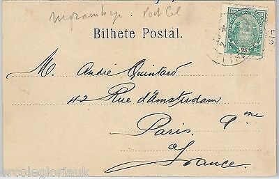 MOZAMBIQUE - POSTAL HISTORY: STAMP on POSTCARD from BEIRA  1904-- ELEPHANTS