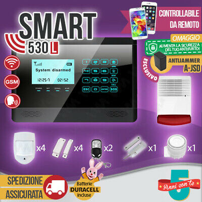 Kit Antifurto Casa Allarme Touch Screen Combinatore Gsm / App Wireless Smart530L