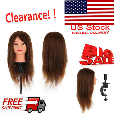 Hairdressing Training Head Long Black Hair Dummy Model Mannequin with Clamp 41P6