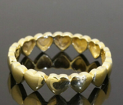 9Carat Yellow Gold Heart Shaped Ring / Band (Size P 1/2) 4mm Width