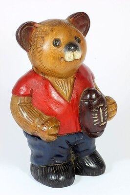 """Wooden Teddy Bear ornament vintage style 8"""" hand carved wood carving Rugby bear"""