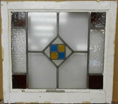 """OLD ENGLISH LEADED STAINED GLASS WINDOW Pretty Geometric Design 21.75"""" x 19.75"""""""