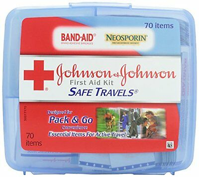Johnson & Johnson Red Cross Portable Travel First Aid Kit 70 Pieces Plastic Case