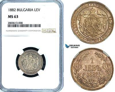 ZB25, Bulgaria, Alexander I, 1 Lev 1882, St. Petersburg, Silver, NGC MS63