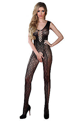 Bodystocking schwarz ouvert SL Nylon Overall Catsuit Muster Anzug offen Netzbody