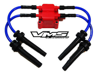 VMS RACING BLUE Ignition Coil 10Mm Spark Plug Wires 03-05 Dodge Neon on