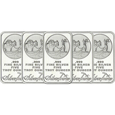 SilverTowne Logo 5oz. .999 Fine Silver Bar LOT OF 5