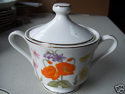 Rare Fine China Of Japan Wild Flower Sugar Bowl With Lid New Mint Condition
