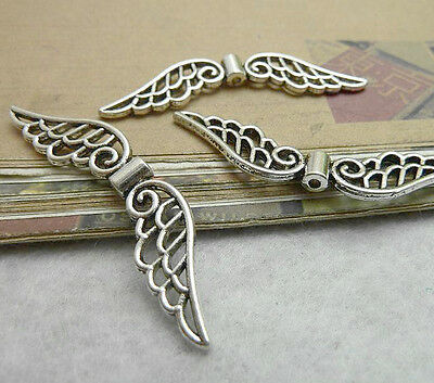 20pc Tibetan Silver Charms Angel wings Spacer Beads Jewellery Making P0179B