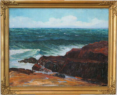 Vintage Original Oil on Canvas Seascape Painting Signed? Eaton Canada qqoo
