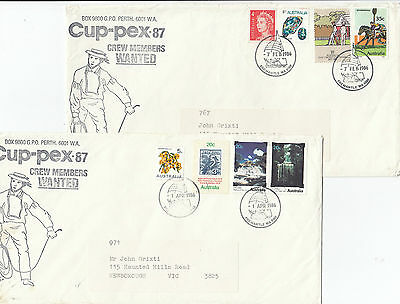 Stamps Australia Americas Cup yacht race CUPPEX 87 pair crew members want covers
