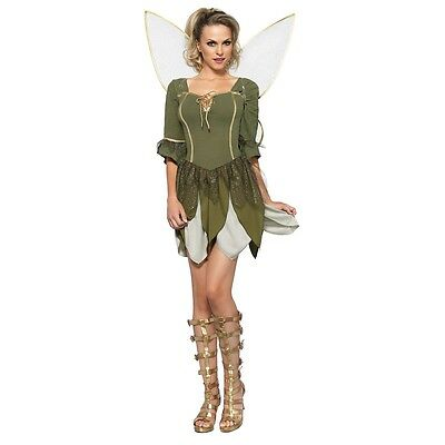 Woodland Fairy Costume Adult Tinkerbell Halloween Fancy Dress