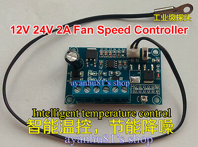 DC 12V 24V 2A Automatic PWM PC CPU Fan Temperature Control Speed Controller BNME