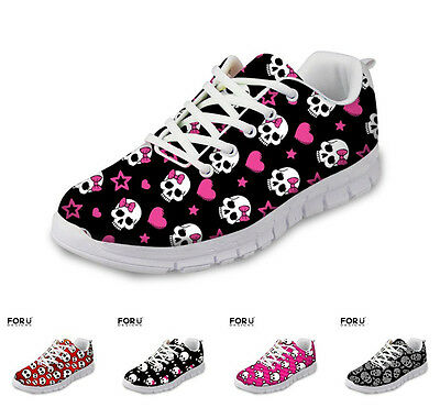 Skull Womens Ladies Sneakers Trainers Casual Flat Lace Up Shoes Breathable Pumps