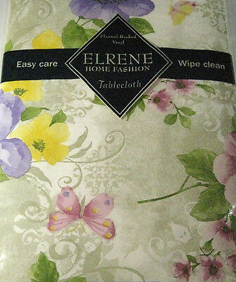Flannel Back Vinyl Floral w/Butterflies Tablecloth Assorted Sizes