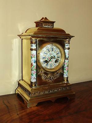 Good Quality Victorian Mantle Clock With Hand Painted Porcelain Decoration