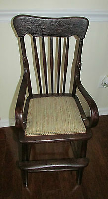 Antique Victorian Bent Wood Child's High Chair ~ w/Padded Seat & Slat Back