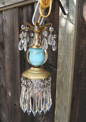 ceiling chandelier crystal prism Vintage Blue Turquoise tole Brass foyer hallway