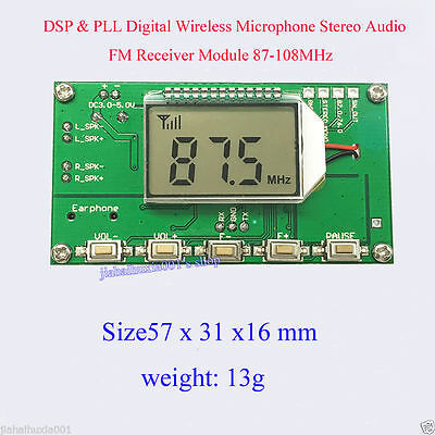 DSP&PLL Digital Wireless Microphone Stereo Audio FM  Receiver Module 87-108MHz R