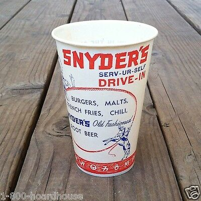 6 Original 1950s SNYDER'S DRIVE-IN Restaurant ROOT BEER Wax Soda Cup LAS VEGAS