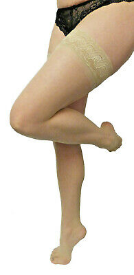 Small to Medium Size Lace Top 10 Denier Hold-ups Stockings Natural Shade