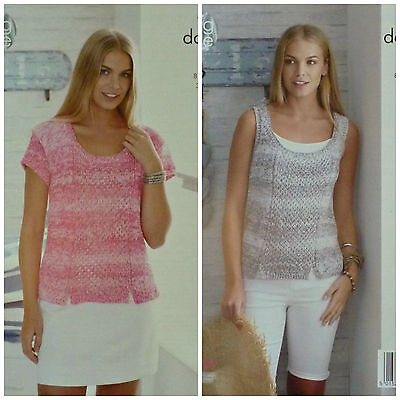 KNITTING PATTERN Ladies Lace Panel Short Sleeve & Sleeveless Cotton Top DK  4458