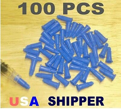 100 pcs Royal Blue slip tip dispensing syringe tip caps GET EM FAST USA Shipper!