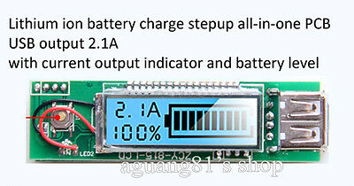New 5V 2.1A 1A USB LCD all-in-one Boost 18650 Lithium ion Battery Charger Module