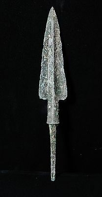 Zurqieh -  Over 3000 Years Old Bronze Long Arrow Head - 1200 B.c , 5 7/8 ""