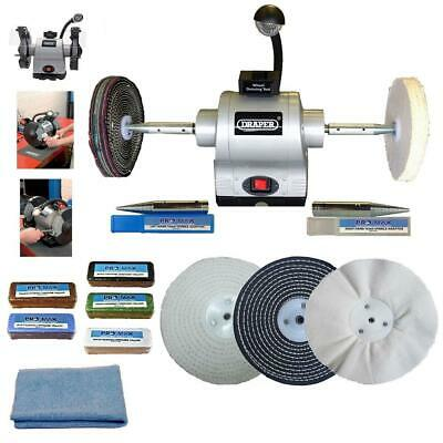 "Bench Grinder Polisher 8"" 520W With 8"" General Purpose Metal Polishing Kit"