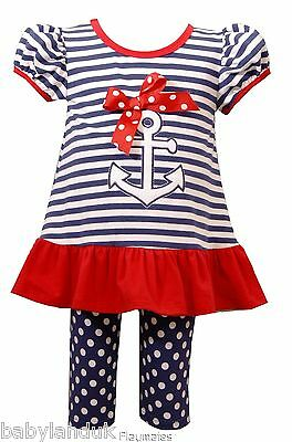Bonnie Jean Infant Baby Girls Striped Sailor T-Shirt Dress Leggings 12 18 24 Mth