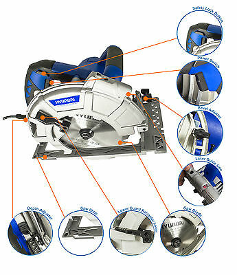 New Hyundai 1600w Corded Electric 230V Circular Saw with laser guidance.