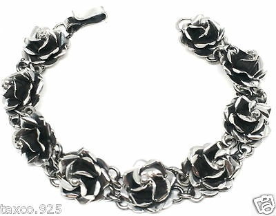 Vintage Design Taxco Mexican Sterling Silver Rose Floral Flower Bracelet Mexico