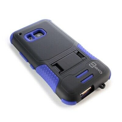 For HTC One M9 Hybrid Case - Blue & Black Shockproof Tough Phone Back Cover