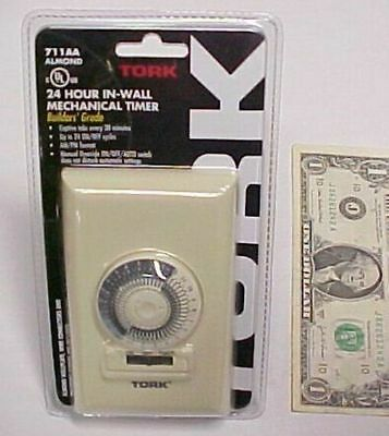 24 Hour Mechanical In-Wall Timer, 15A Tork 711AA UL Listed 1000W Tungsten 1/3 HP