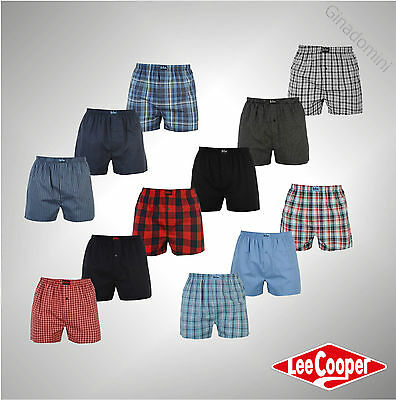 New 3 Pack Mens Designer Lee Cooper Woven Boxer Shorts Underwear Size S-XXL
