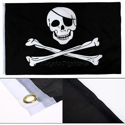 5x3FT Skull And Crossbones Pirate Flag Jolly Roger Eyelets Hanging With Grommets