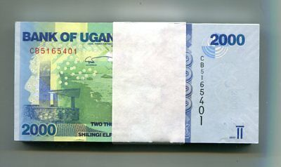 UGANDA 2000 SHILLINGS 2017 P-50d UNC BUNDLE 100 PCS