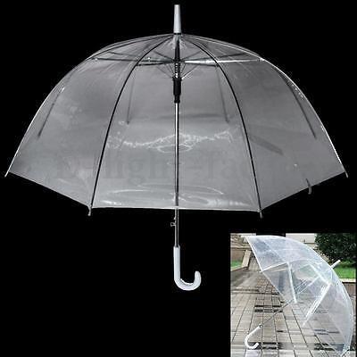 Large Clear See Through Dome Umbrella Handle Transparent Walking Rain Brolly